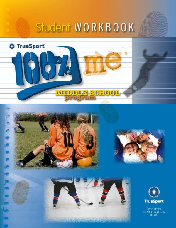 TrueSport 100% me middle school program student workbook cover image.