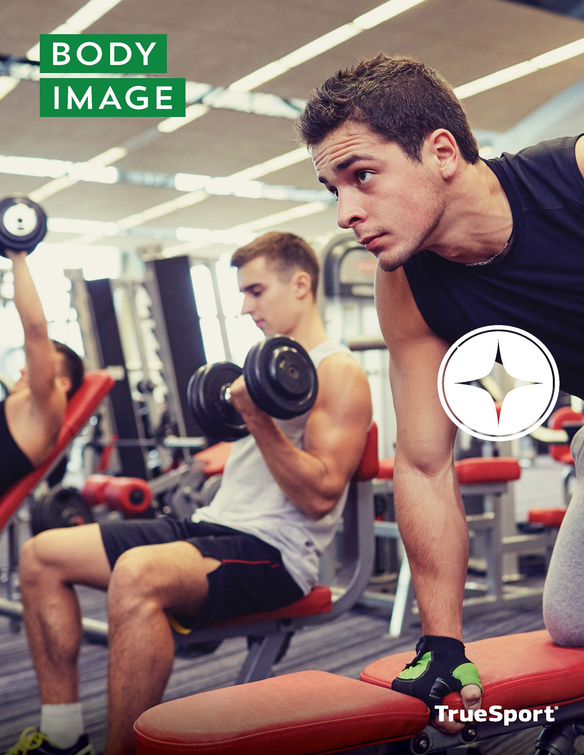 Body Image Lesson cover of two men working out in a gym.