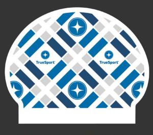 TrueSport branded swim cap.