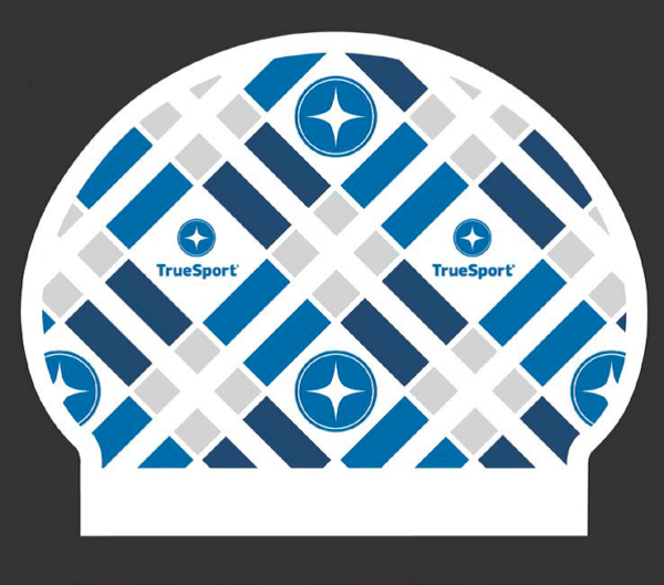 TrueSport branded swim cap.