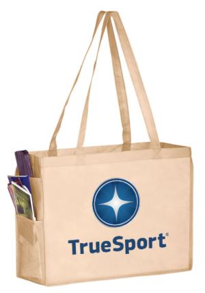 Tan TrueSport branded tote bag.
