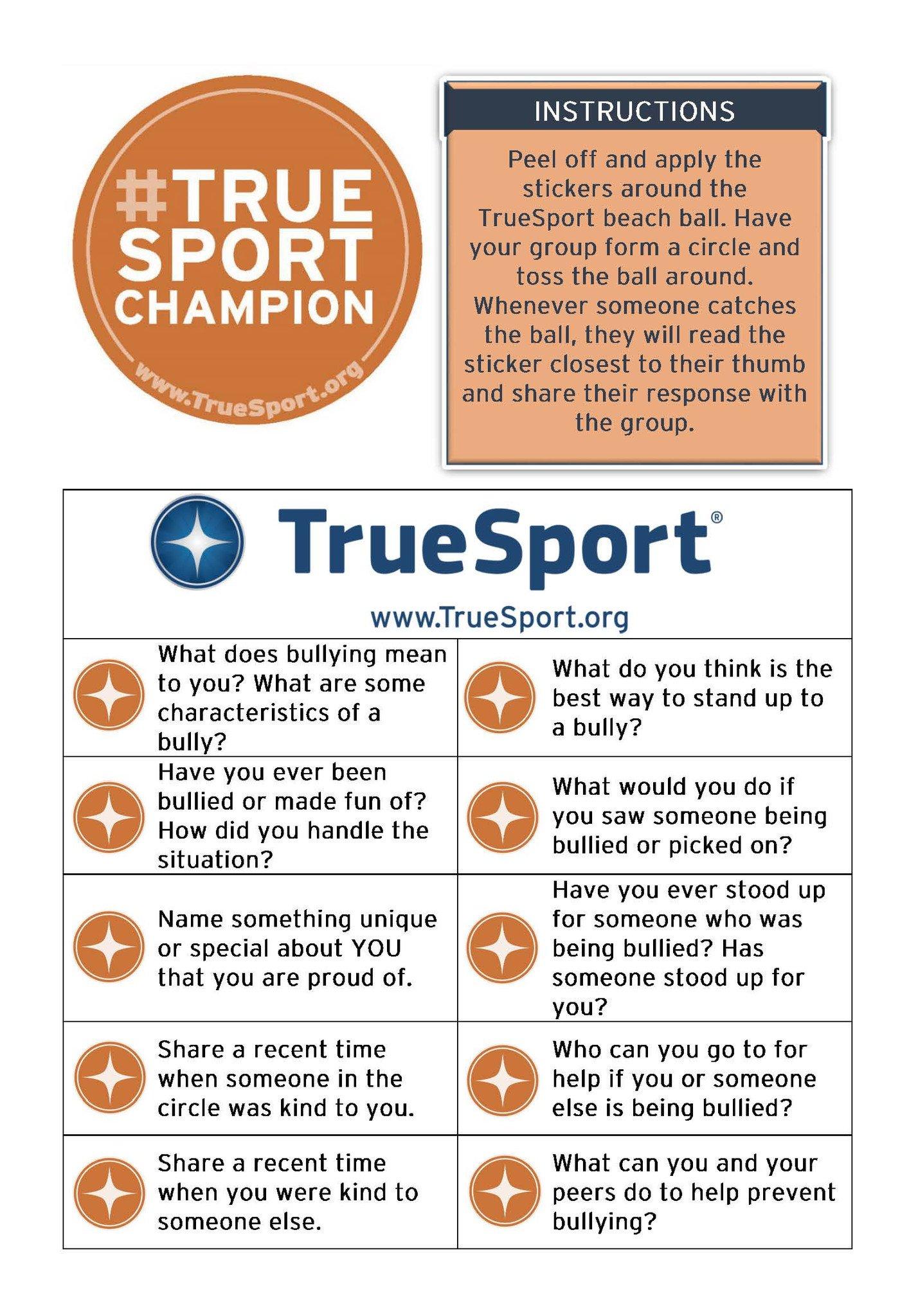 TrueSport bullying prevention sticker set.
