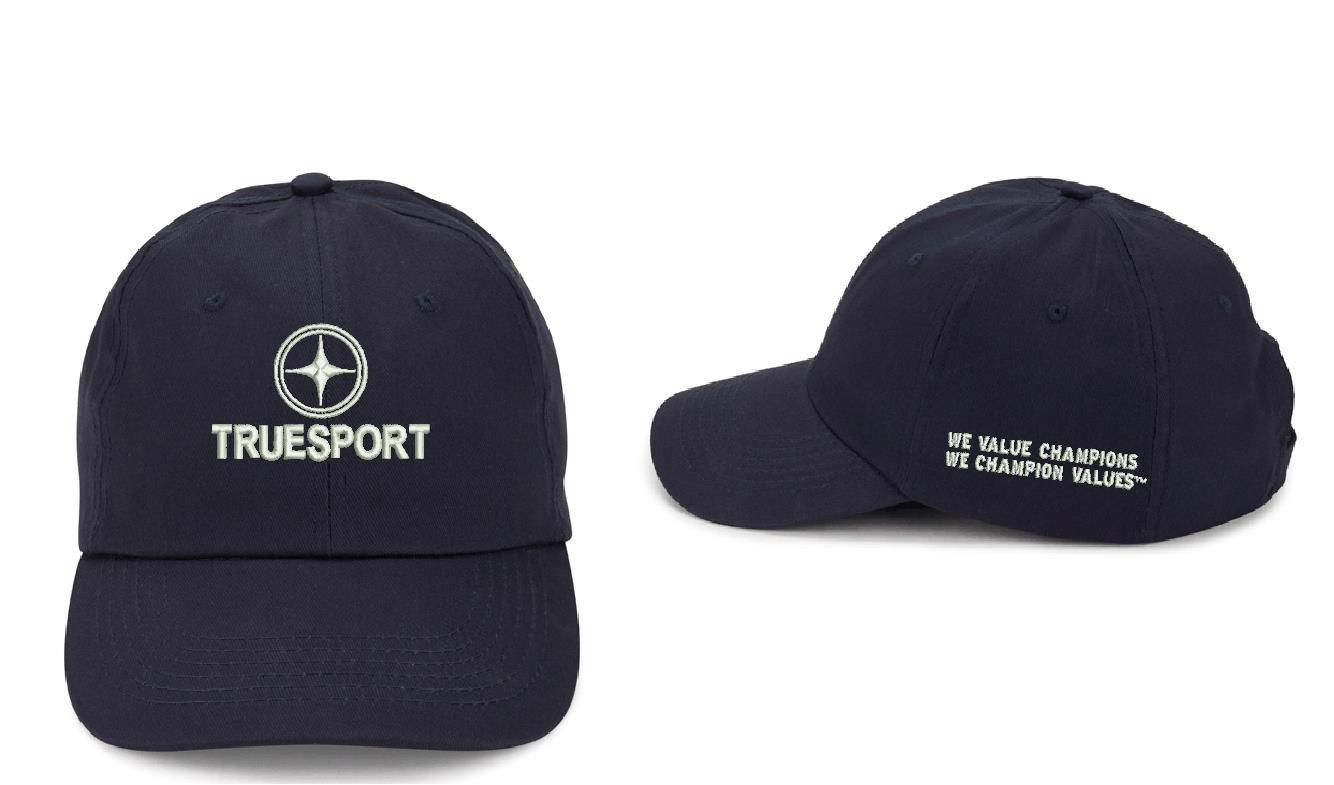 Dark blue TrueSport branded hat with white logo.