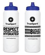 TrueSport branded white water bottle.