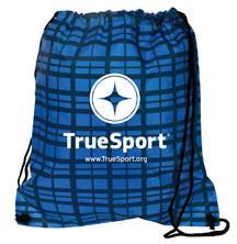 TrueSport blue plaid drawstring bag.