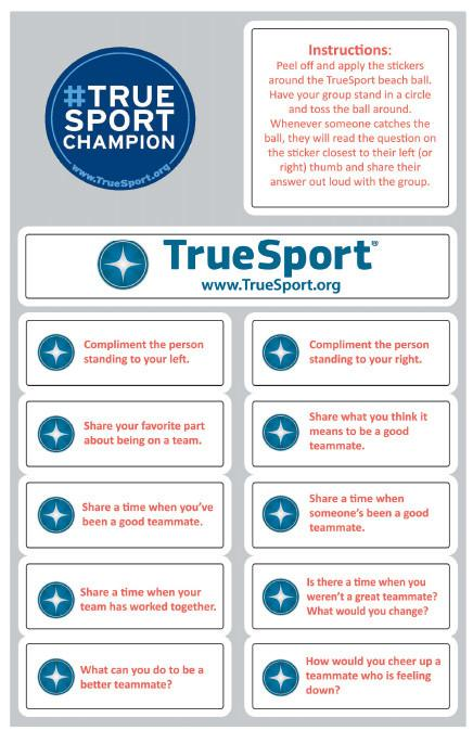 TrueSport teamwork sticker set.