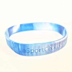 TrueSport branded tie dye blue and white bracelet.