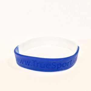 TrueSport branded two tone white and blue bracelet.