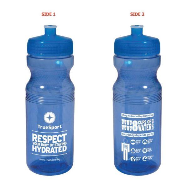 Blue Truesport branded water bottles.
