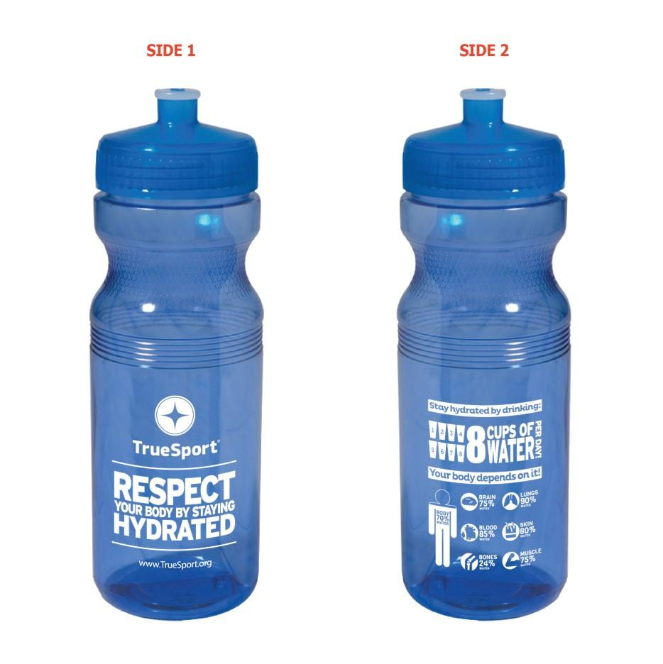 Blue Truesport branded water bottles.