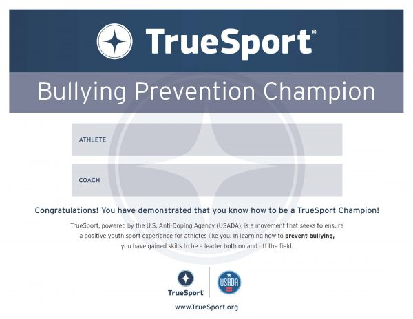 Bullying Prevention Champion Athlete Certificate