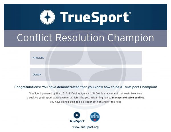 Conflict Resolution Champion Athlete Certificate