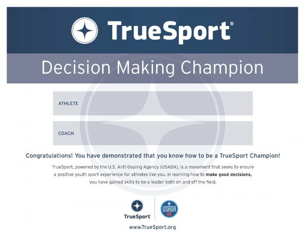 Decision-Making Athlete Certificate