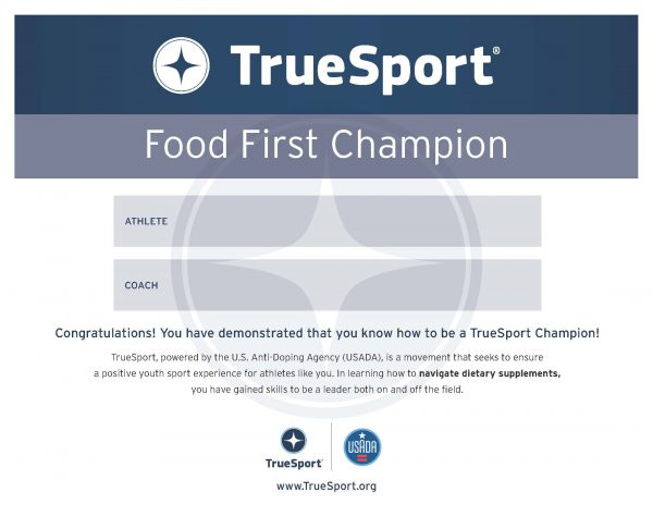 Dietary Supplements Food First Champion Athlete Certificate
