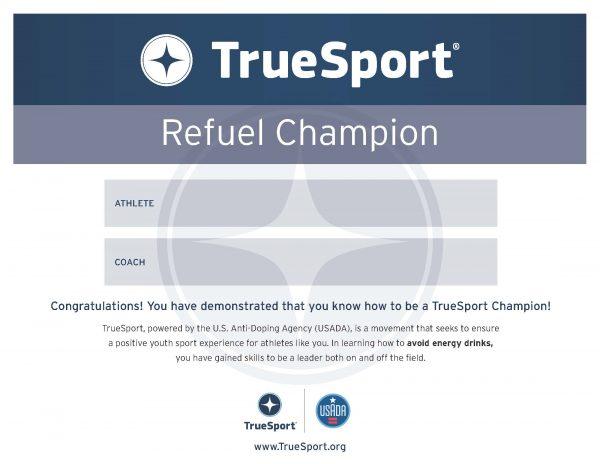 Energy Drink Refuel Champion Athlete Certificate