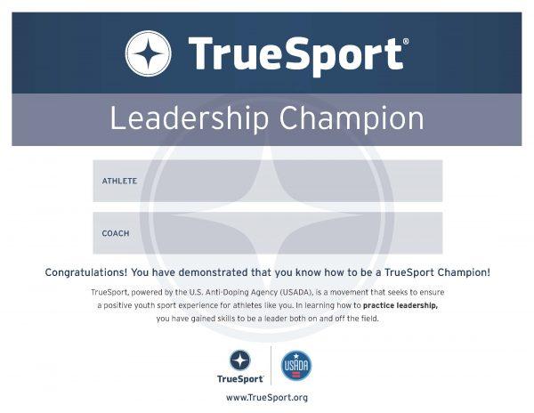 Leadership Champion Athlete Certificate