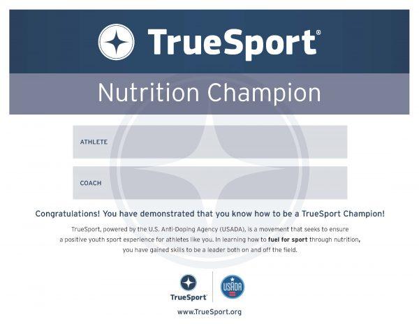 Nutrition Champion Athlete Certificate