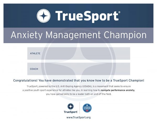 performance anxiety champion athlete certificate