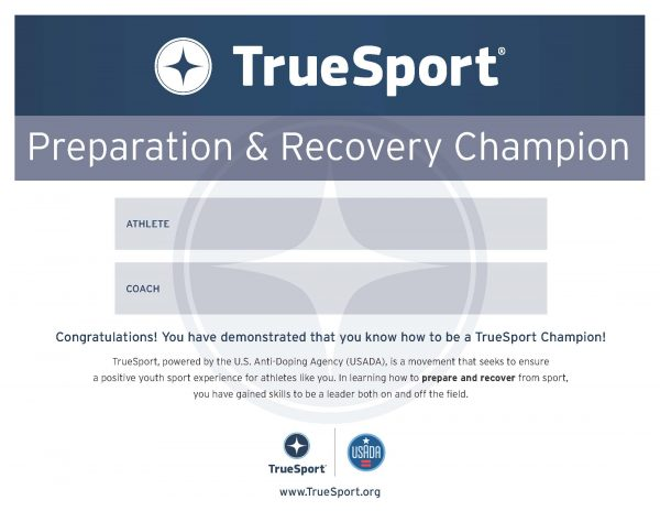 Preparation & Recovery Champion Athlete Certificate
