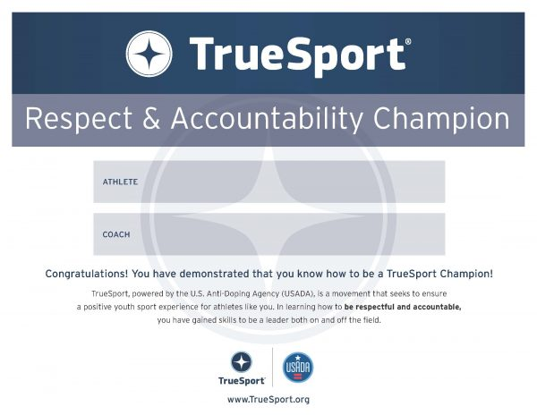 Respect & Accountability Champion Athlete Certificate