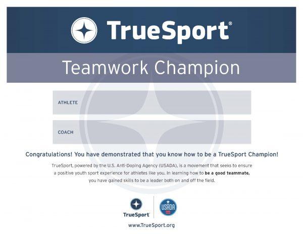 Teamwork Champion Athlete Certificate