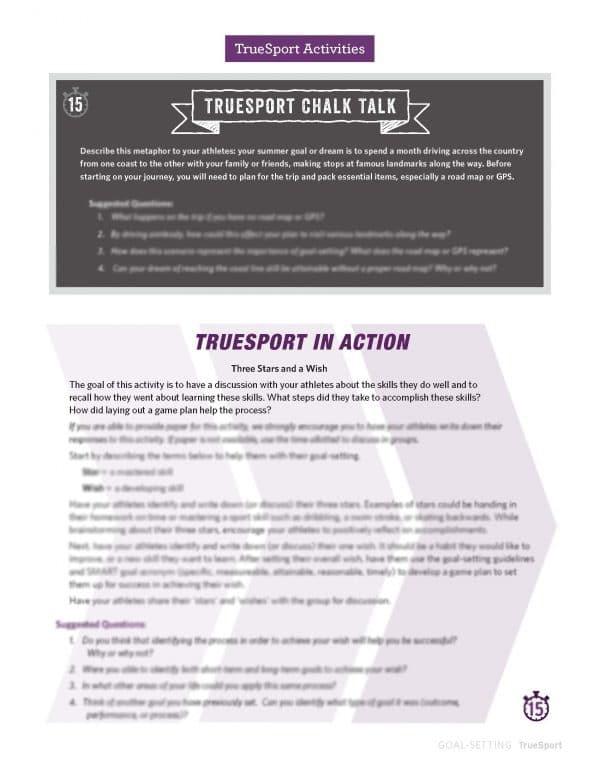 TrueSport Lesson Activities